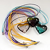 17-inch lampwork Necklace, Wax Cord & Organza Ribbon Transparent, Heart 39x42x14mm, Sold by Strand