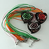17-inch Inner Flower lampwork Nacklace, Wax Cord & Organza Ribbon Transparent, Heart 39x47x16mm, Sold by Strand