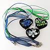 17-inch Inner Flower lampwork Nacklace, Wax Cord & Organza Ribbon Transparent, Heart 38x41x11mm, Sold by Strand