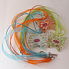 17-inch lampwork Nacklace, Wax Cord & Organza Ribbon Transparent, Butterfly 42x41x5mm, Sold by Strand