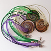 17-inch Gold Sand lampwork Nacklace, Wax Cord & Organza Ribbon Transparent, 40x39x6mm, Sold by Strand
