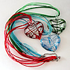 17-inch Silver Foil lampwork Nacklace, Wax Cord & Organza Ribbon Transparent, Heart 44x52x13mm, Sold by Strand