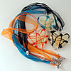 17-inch lampwork Nacklace, Wax Cord & Organza Ribbon Transparent, Heart 44x52x11mm, Sold by Strand