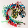 17-inch Silver Foil lampwork Nacklace, Wax Cord & Organza Ribbon Transparent, Leaf 31x61x8mm, Sold by Strand