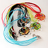 17-inch lampwork Nacklace, Wax Cord & Organza Ribbon Transparent, Elephant 46x37x9mm, Sold by Strand