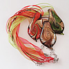 17-inch Gold Sand lampwork Nacklace, Wax Cord & Organza Ribbon Transparent, Leaf 32x60x9mm, Sold by Strand