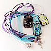Inner Flower lampwork Nacklace, Wax Cord & Organza Ribbon Transparent, Rectangle 25x48x13mm, Sold by Strand