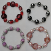 Lampwork & Glass Bracelet, 8-Inch Mix color Mix style, Bead Size:6mm-24mm, Sold by Group