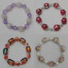 Acrylic & Glass Bracelet, 8-Inch Mix color Mix style, Bead Size:8mm-20mm, Sold by Group