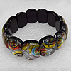 Silver Foil Lampwork Glass Bracelet, 15x20mm Length:About 19mm, Sold by Strand