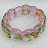 Silver Foil Lampwork Glass Bracelet, 18x22mm Length:About 19mm, Sold by Strand