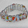 Silver Foil Lampwork Glass Bracelet, 8x20mm Length:About 19mm, Sold by Strand