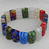 Millefiori Lampwork Glass Bracelet, 10x17mm Length:About 19mm, Sold by Strand