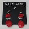 Coral Earring, Length:42mm Bead Size:18x12mm, Sold by Group