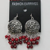 Coral Earring, Length:58mm Bead Size:5mm, Sold by Group