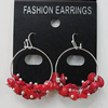 Coral Earring, Length:38mm Bead Size:7mm, Sold by Group