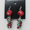 Coral Earring, Length:52mm Bead Size:14mm, Sold by Group