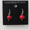 Coral Earring, Length:23mm Bead Size:9mm, Sold by Group