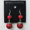 Coral Earring, Length:44mm Bead Size:15mm, Sold by Group
