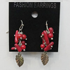 Coral Earring, Length:47mm Bead Size:10x19mm, Sold by Group