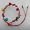 Waxed cotton Bracelets with Plastic Beads & Bell,Length:About 7.9 Inch,Sold by Group