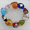 Gold Sand and Silver Foil Lampwork Beads Bracelets, Bead Size: 20mm Length:7.8 Inch, Sold by Strand