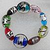 Silver Foil Lampwork Beads Bracelets, Bead Size: 20mm Length:7.0 Inch, Sold by Strand
