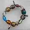 Silver Foil Lampwork Beads Bracelets, Bead Size: 20mm Length:7.8 Inch, Sold by Strand