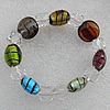 Silver Foil Lampwork Beads Bracelets, Bead Size: 20mm Length:6.3 Inch, Sold by Strand