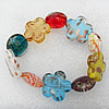 Gold Sand Lampwork Beads Bracelets, Bead Size:25mm Length:7.8 Inch, Sold by Strand