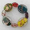 Gold Sand Lampwork Beads Bracelets, Bead Size:30x25mm Length:7.8 Inch, Sold by Strand