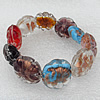Gold Sand Lampwork Beads Bracelets, Bead Size:20mm Length:7.8 Inch, Sold by Strand