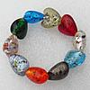 Silver Foil Lampwork Beads Bracelets, Bead Size:20mm Length:7.8 Inch, Sold by Strand
