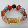 Gold Sand Lampwork Beads Bracelets, Bead Size:30x15mm Length:7.8 Inch, Sold by Strand