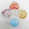 Inner Flower Lampwork Pendant, Heart 36x46mm Hole:About 7mm, Sold by PC