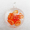 Inner Flower Lampwork Pendant,  39x29x10mm Hole:About 5mm, Sold by PC