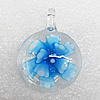 Inner Flower Lampwork Pendant, Flat Round 39x29x10mm Hole:About 5mm, Sold by PC