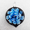 Inner Flower Lampwork Pendant, 40x30x12mm Hole:About 4mm, Sold by PC