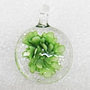 Inner Flower Lampwork Pendant, Flat Round 35x25x10mm Hole:About 4mm, Sold by PC