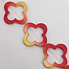 Paint (Spray-paint) Shell Beads, Flower Outside Diameter:33mm Inside Diameter:21mm, Sold per 16-Inch Strand