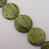 Paint (Spray-paint) Shell Beads, Flat Round 20x4mm Hole:About 1mm, Sold 16-Inch Strand