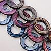Paint (Spray-paint) Shell Beads, Donut Outside Diameter:20mm Inside Diameter:11mm, Sold 16-Inch Strand