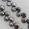 Pearl, cultured freshwater(dye), Button 8x5mm Hole:About 0.1mm,Sold per 16-inch strand.
