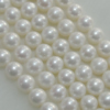 Pearl, cultured freshwater, Round 9-10mm Hole:About 0.1mm,Sold per 16-inch strand.