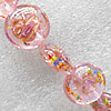 Inner Flower Lampwork Beads, Flat Round 20mm Hole:About 1.5mm, Sold by PC