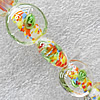 Inner Flower Lampwork Beads, Flat Round 16mm Hole:About 1.5mm, Sold by PC