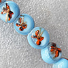 Inner Flower Lampwork Beads, Round 12mm Hole:About 1.5mm, Sold by PC