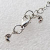 Iron Bead Tips With Chain and Alloy Clasps, Clasps: 12x6.5mm, chain: 3.5mmx50mm, Bead Tip: 9x3mm, Sold by sets