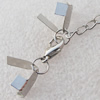 Iron Cord Ends With Chain and Alloy Clasps, Clasps: 12x6.5mm, chain: 3.5mmx50mm, Cord Ends: 6mm, Sold by sets
