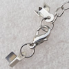 Iron Cord Ends With Chain and Alloy Clasps, Clasps: 12x6.5mm, chain: 3.5mmx50mm, Cord Ends: 4x6mm, Sold by sets